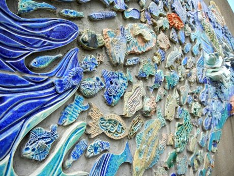Riverfront Trail Fish Sculpture Wall